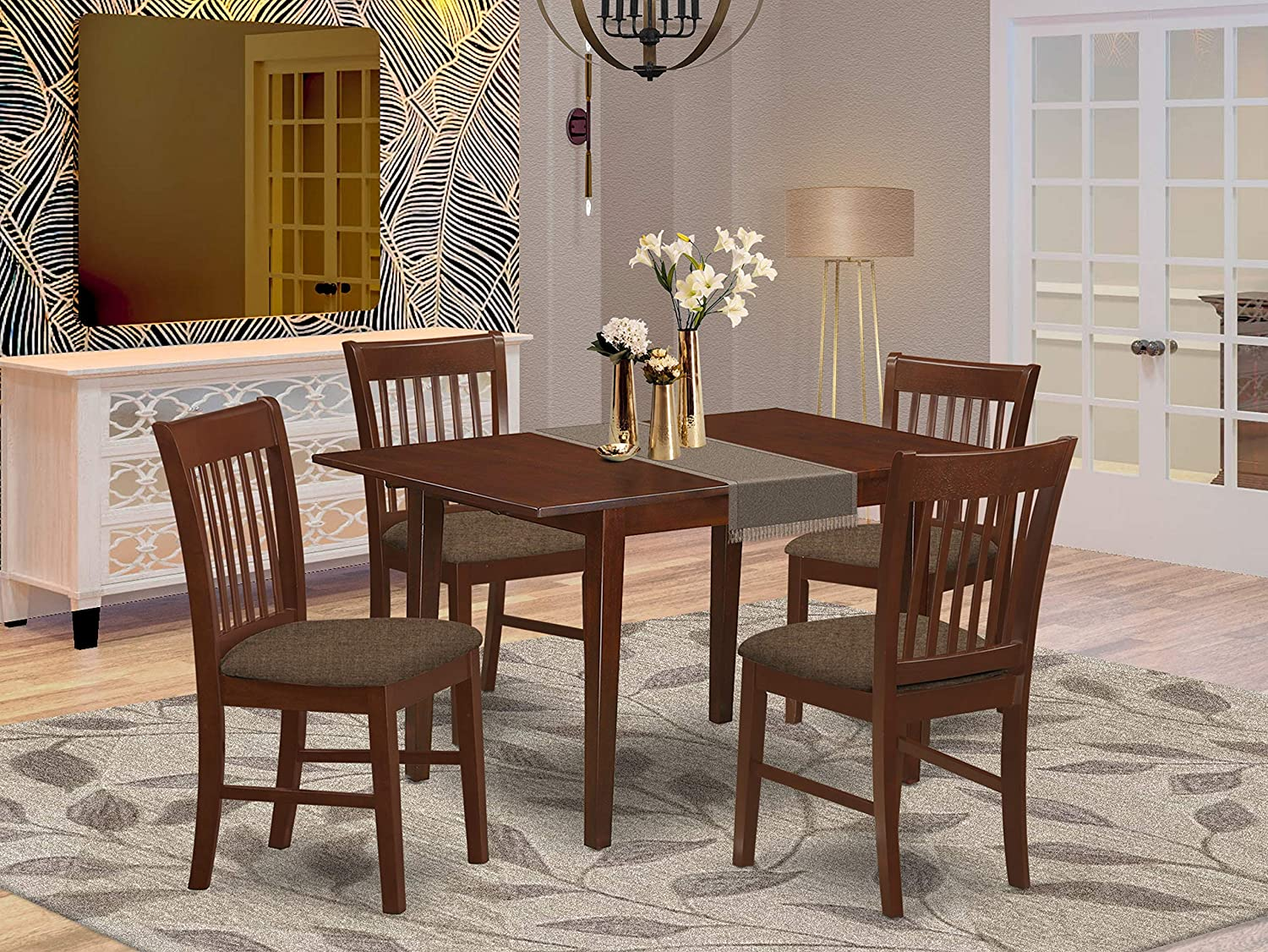 Amazon Com 5 Pc Dinette Set For Small Spaces Small Table With 4 Dining Table Chairs Furniture Decor