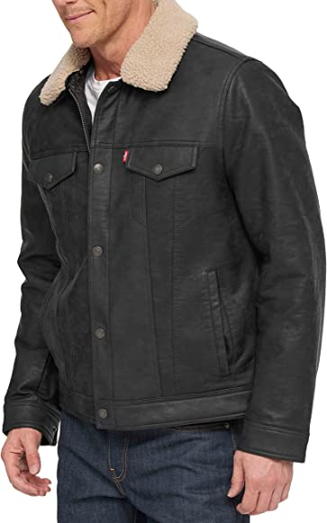 Levi's Men's Big and Tall Big & Tall Buffed Cow Faux Leather Sherpa Trucker