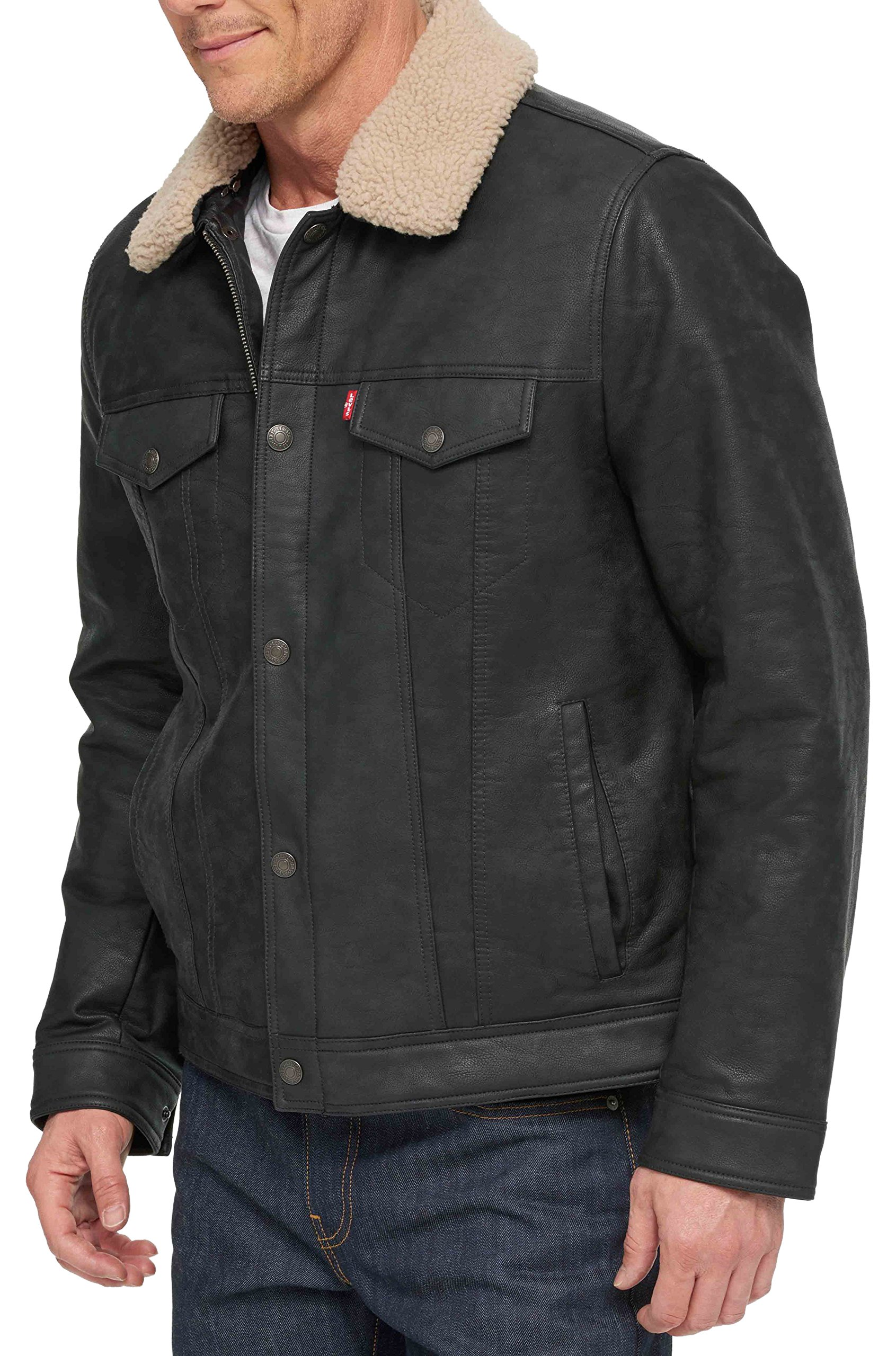 Levi's Men's Big Buffed Cow Faux Leather Sherpa Trucker, Black, 2X-Large Tall by Levi's