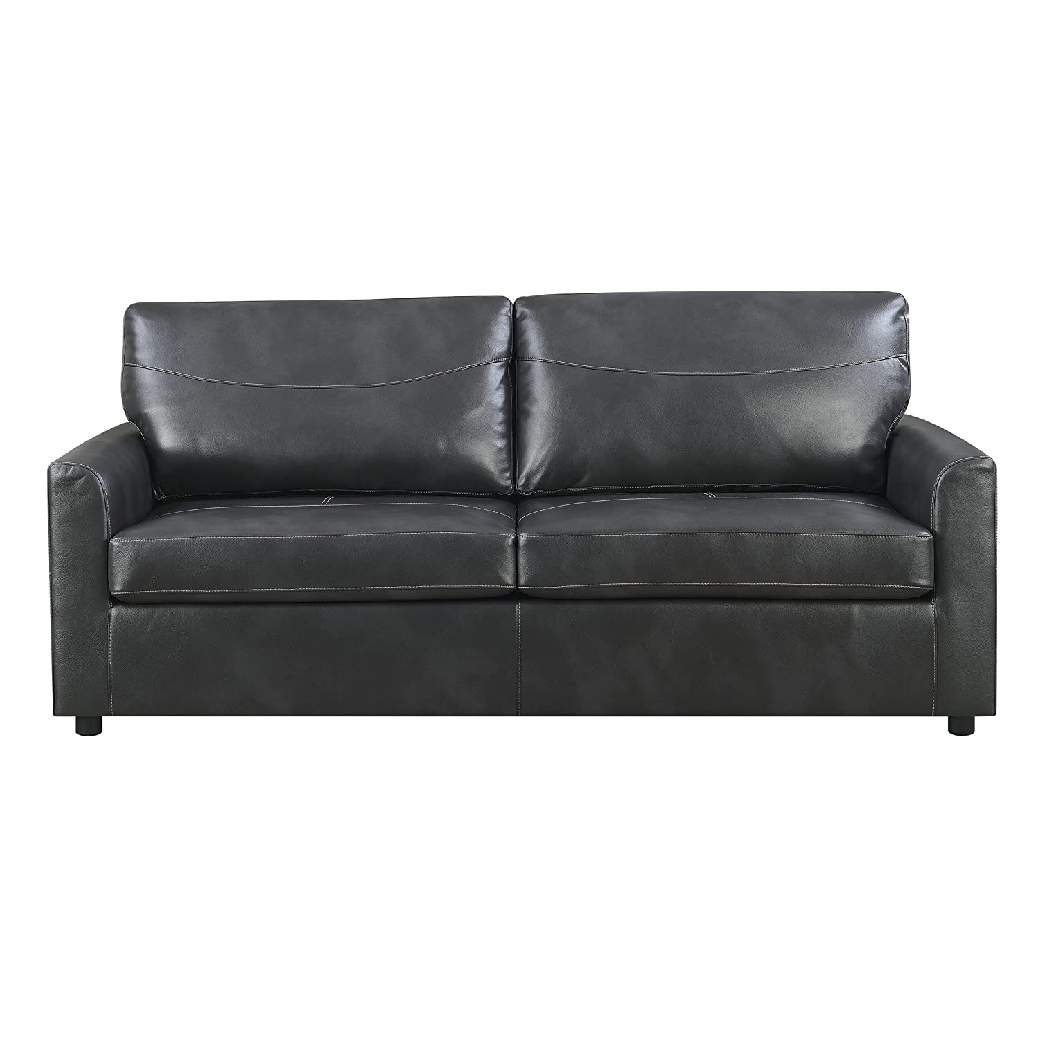 Emerald Home Slumber Charcoal Sleeper Sofa with Faux Leather Upholstery And  Gel Foam Mattress