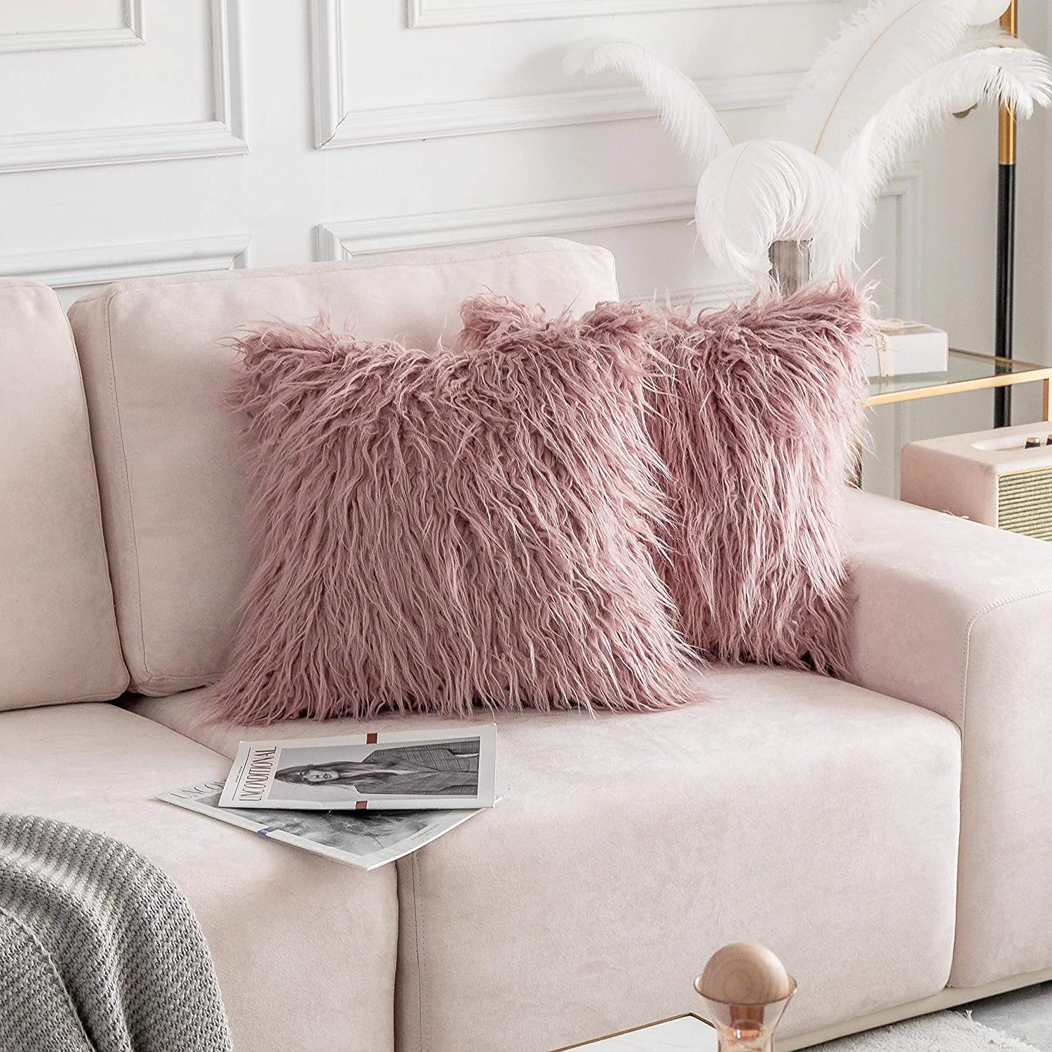 Home Brilliant Throw Pillow Covers Decorative Super Soft Plush Mongolian Faux Fur Cushion Case for Bed, Set of 2 (20 x 20 inch, 50cm, Dusty Pink)