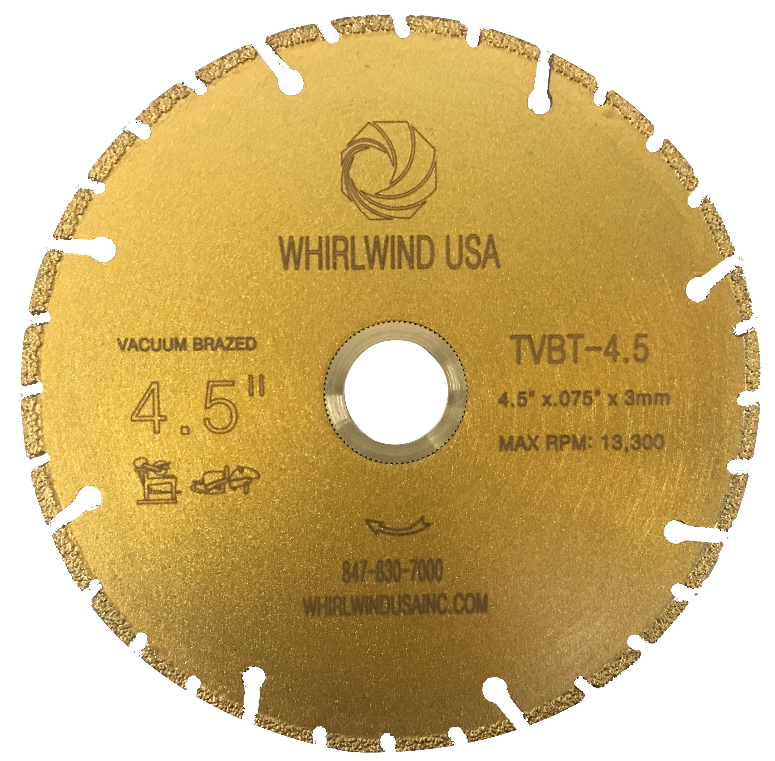 Whirlwind USA TVBT 4.5 in. All Purpose Metal Cutting Dry or Wet Cutting Vacuum-Brazed Segmented Diamond Blades for Metal and Plastic Materials (Factory Direct Sale) (4.5'') by WHIRLWIND USA