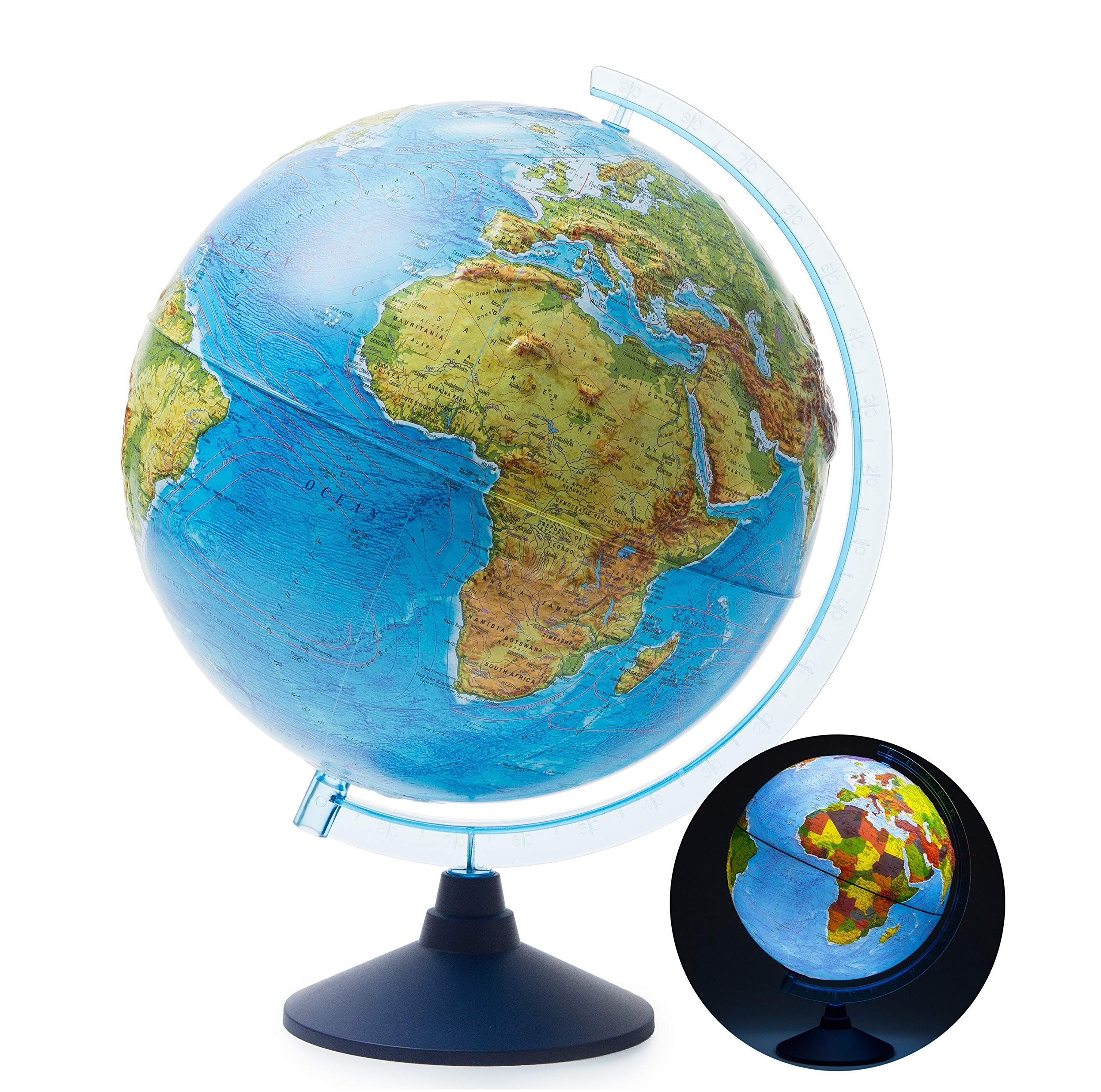EXERZ 12'' / 13'' /32cm Illuminated Relief Globe with Cable Free LED Lighting/ 2 in 1/ Day and Night - Physical/Political Dual Map - Topography / Geography / Ridge by Exerz