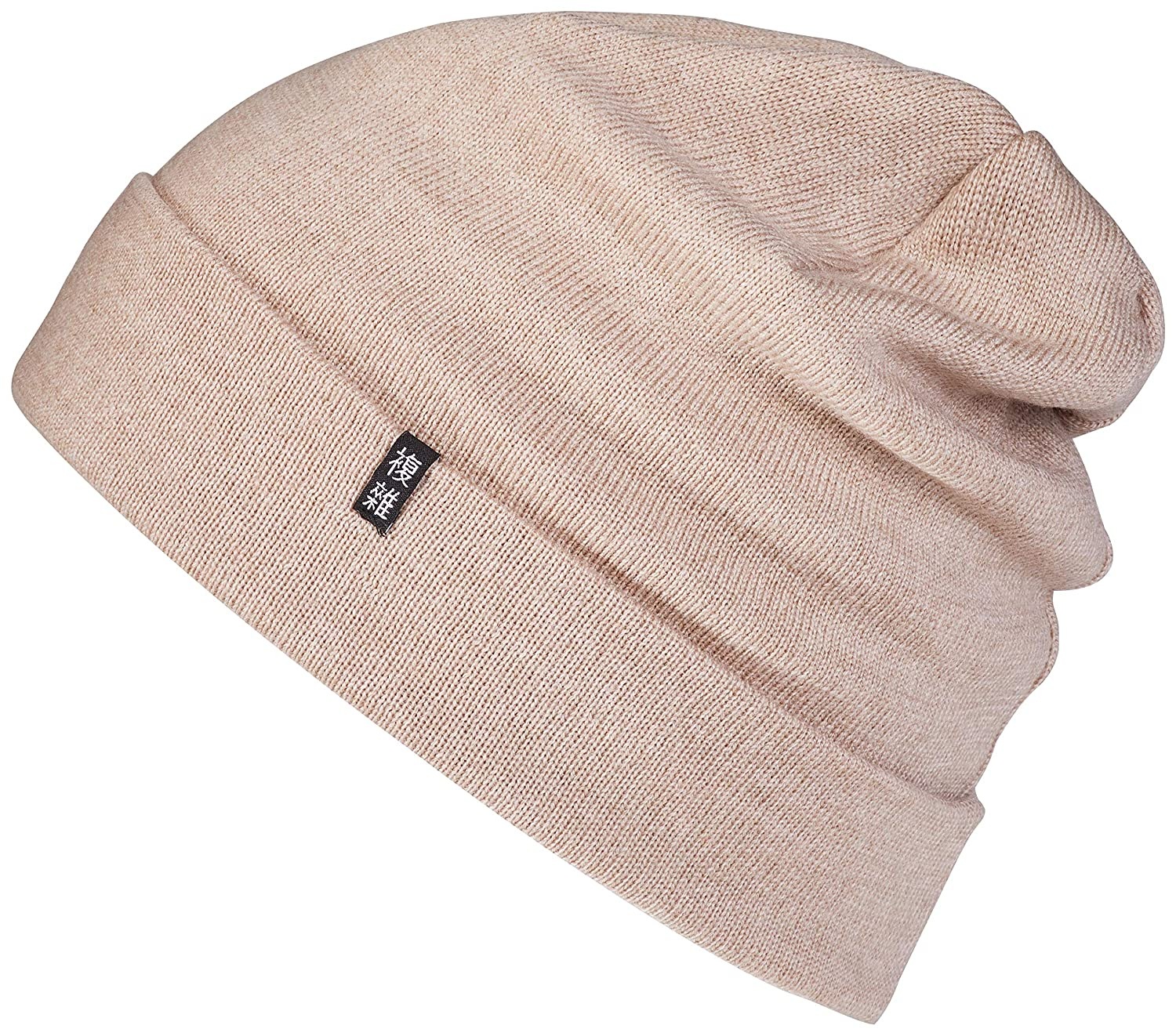 5e48bdfe6b Enter the Complex Merino Beanie Hat 2 Layer Fine Knit Warm and Thin for Men  and Women - Beige - One Size Fits All: Amazon.co.uk: Clothing