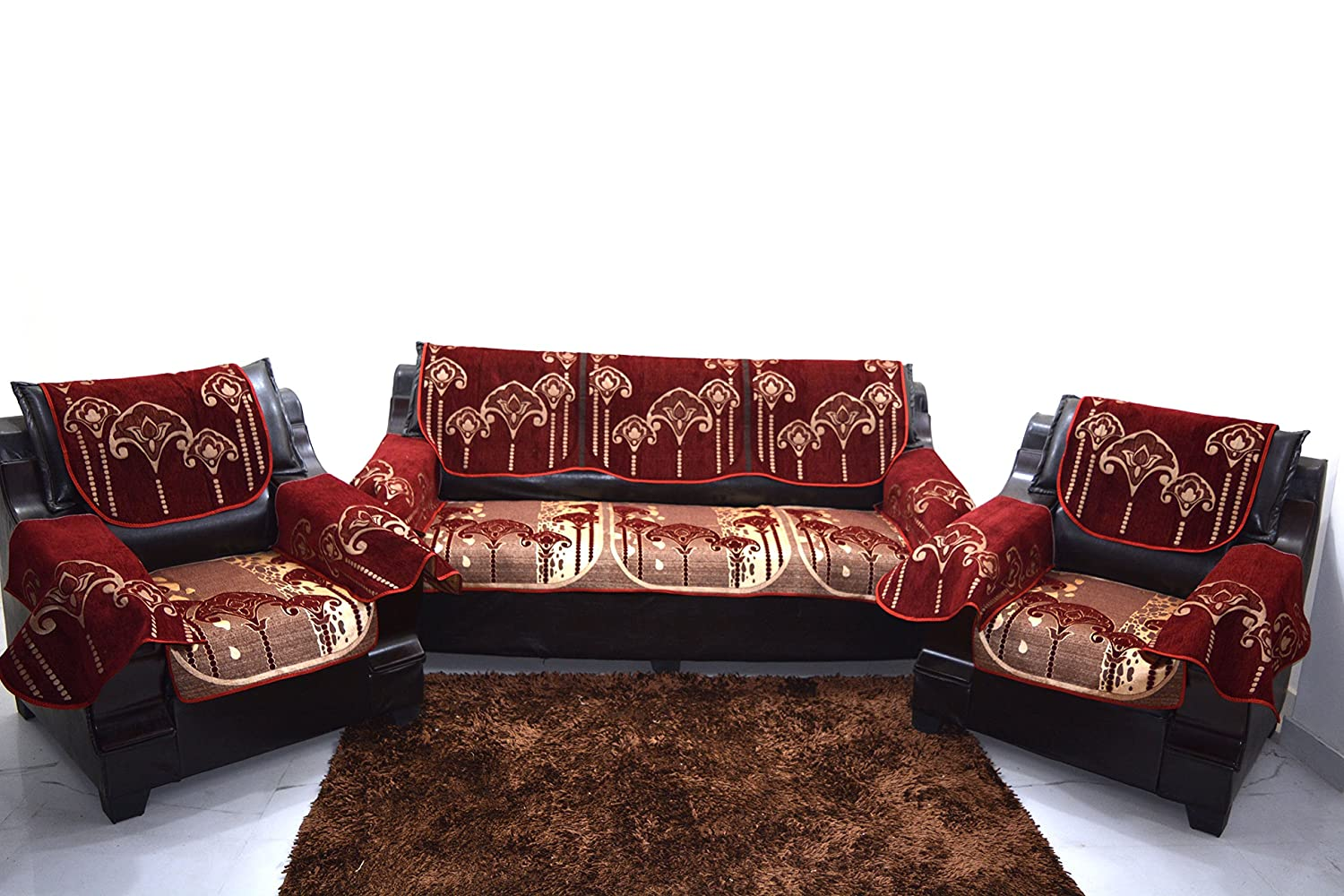Incredible Buy A P Handloom Maroon Sofa Cover With Arm Set Of 12 Pics Pabps2019 Chair Design Images Pabps2019Com