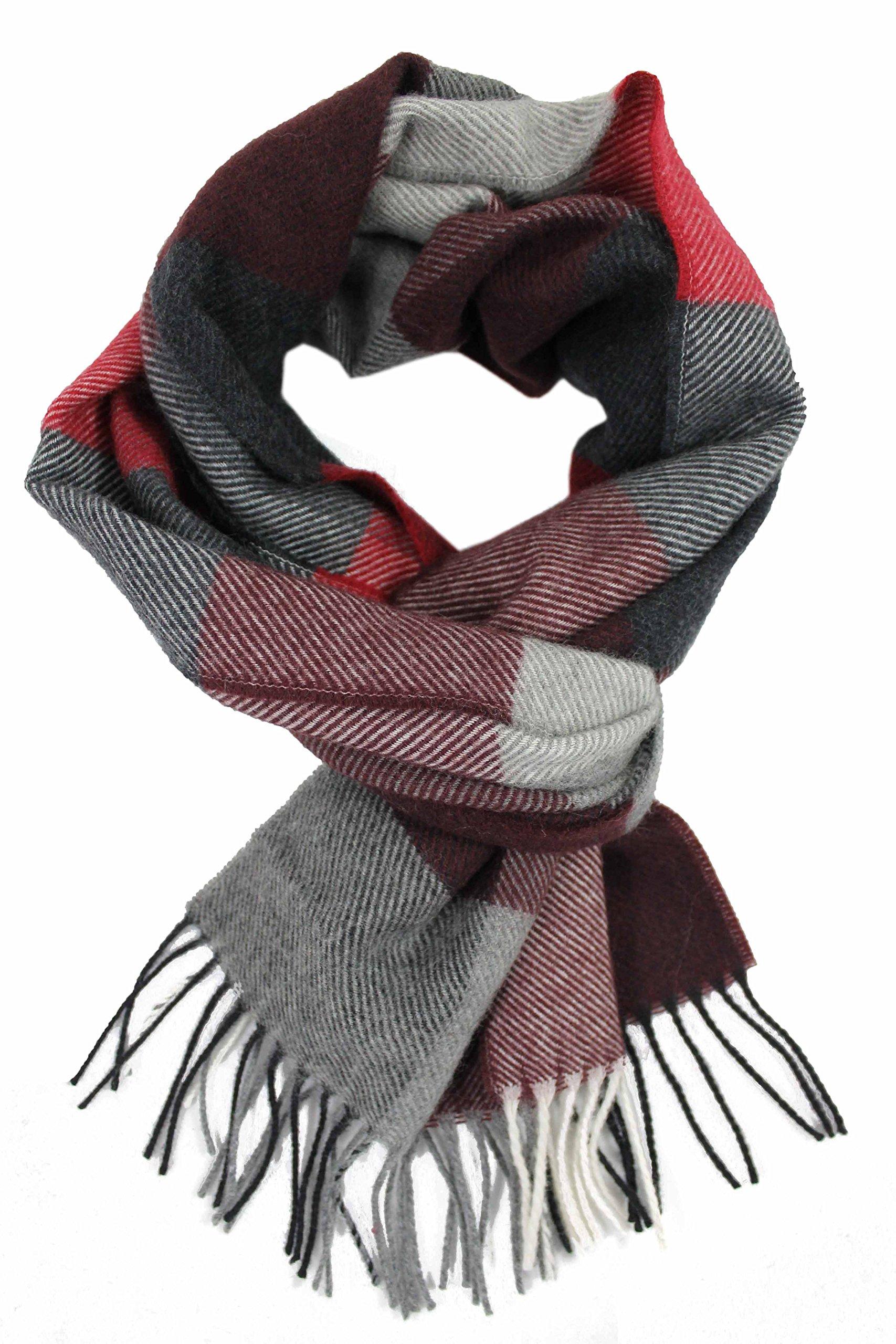 Men's scarf - Neckerchief fine wool scarf - red gray plaid