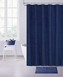 Dainty Home Paris Chinelle Fabric Shower Curtain, 70x72'', Navy