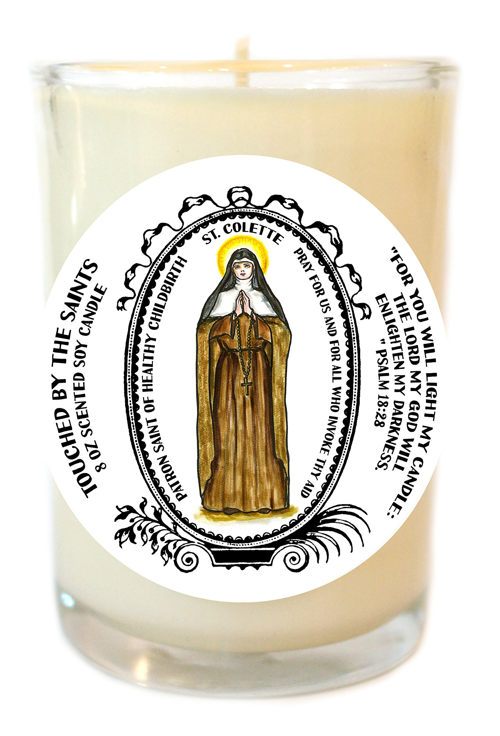 Saint Colette Patron of Healthy Childbirth 8 Oz Scented Soy Glass Prayer Candle