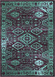 product image for Maples Rugs Georgina Traditional Area Rugs for Living Room & Bedroom [Made in USA], 7 x 10, Winberry/Teal