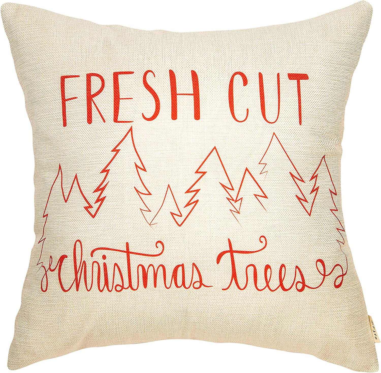 "Fjfz Rustic Farmhouse Style Fresh Cut Christmas Trees Winter Cotton Linen Home Decorative Throw Pillow Case Cushion Cover with Words for Sofa Couch, 18"" x 18"""