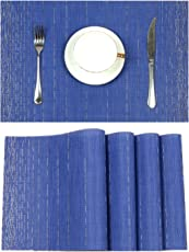Pauwer Placemats Set of 6 Crossweave Woven Vinyl Placemat Kitchen Table Heat Resistant Non-Slip Kitchen Table Mats Easy to Clean
