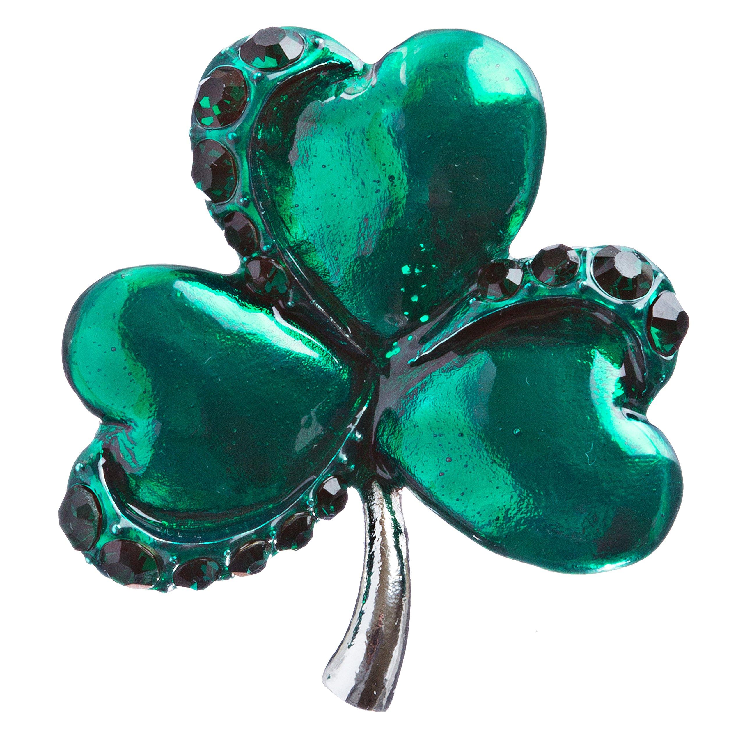 ACCESSORIESFOREVER Women St. Patrick's Day Jewelry Crystal Rhinestone Splendid Clover Leaf Brooch B160 SV