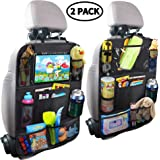 MZTDYTL Car Backseat Organizer with Touch Screen Tablet Holder + 9 Storage Pockets Kick Mats Car Seat Back Protectors…
