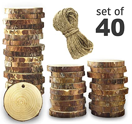 Natural Wood Slices 40 Pcs 2 3 Craft Wood Kit Unfinished Wood Rounds With Hole Diy Wooden Circles Small Wood Slices Arts And Crafts For