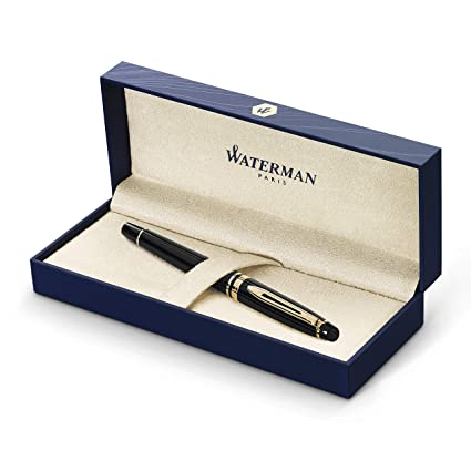 Waterman Expert pluma estilográfica, brillante con adorno de oro de 23 quilates, plumín mediano con cartucho de tinta azul, estuche de regalo, color ...