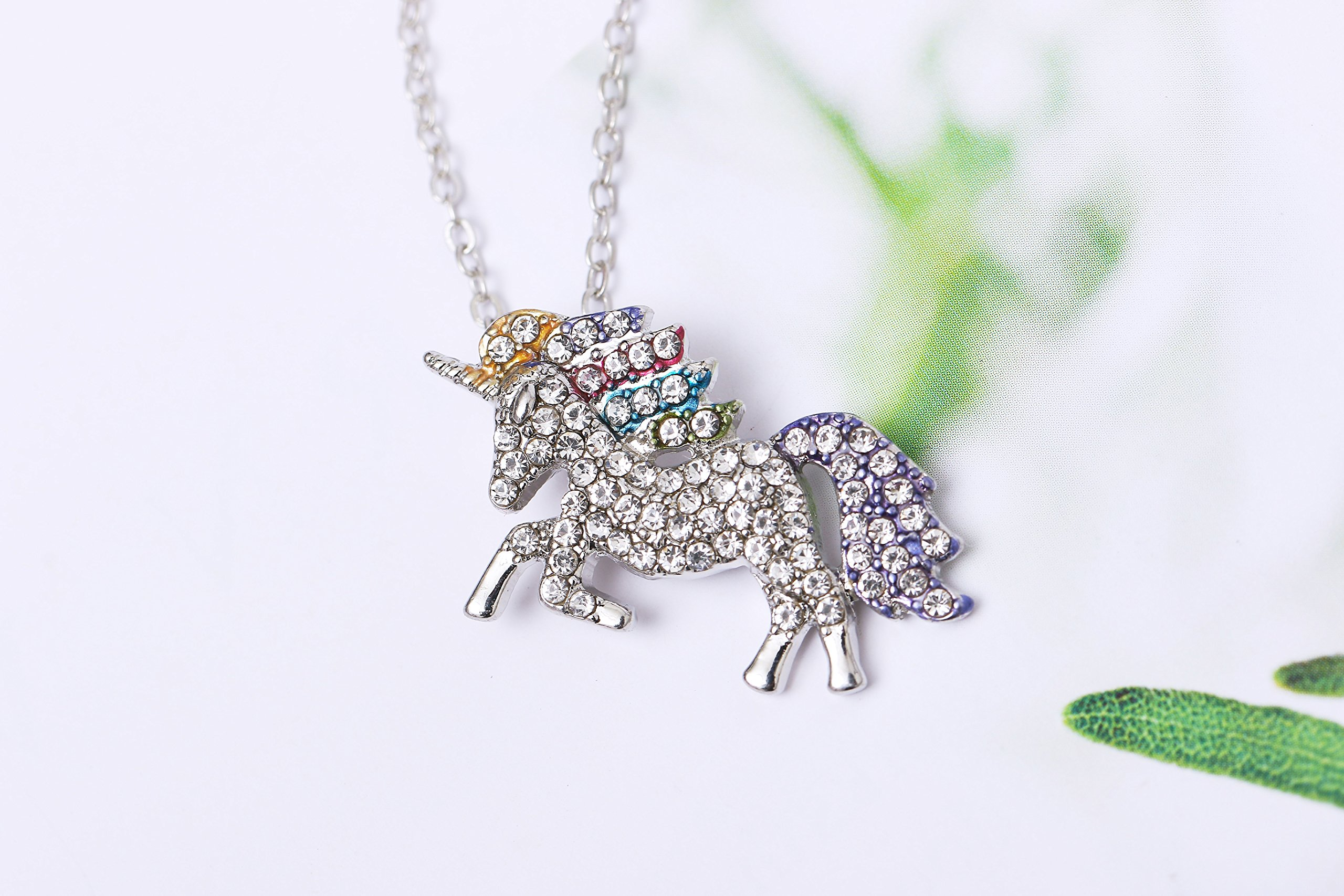 MUHU Fashion Rainbow Rhinestones Unicorn Pendant Necklace 6