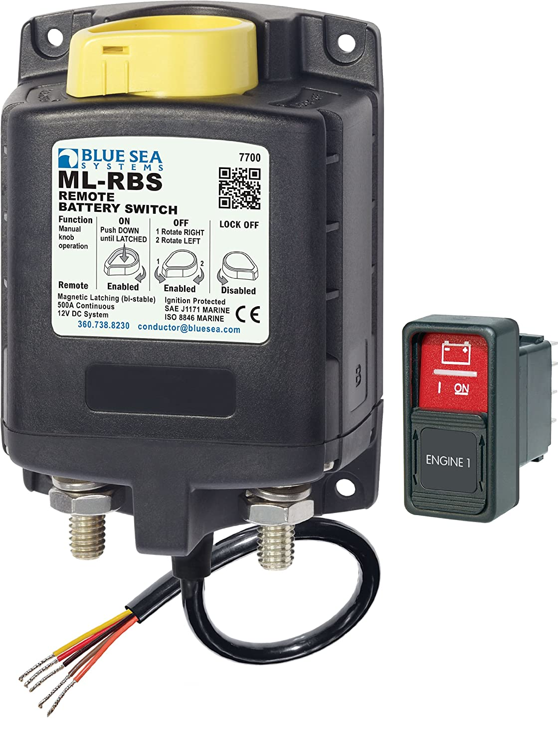 Blue Sea Systems 7700, Ml-Rbs Remote Battery Switch with Manual Control-12V DC 500A Seawide Marine