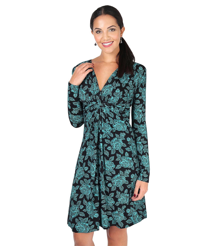 TALLA 38. KRISP Vestido Mujer Talla Grande Boda Noche Manga Cóctel Fiesta Elástico Azul Verdoso (5285) 38