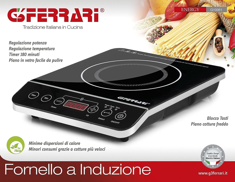 G3Ferrari G10061 Piastra Fornello a Induzione, 2000 W, Acciaio, Nero