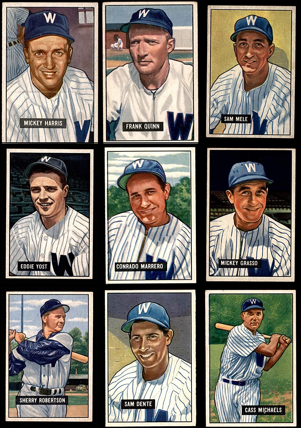 1951 Bowman Washington Senators Team Satz Washington Senators (Baseball Set) Dean'S Cards 6 - Ex/Mt Senators
