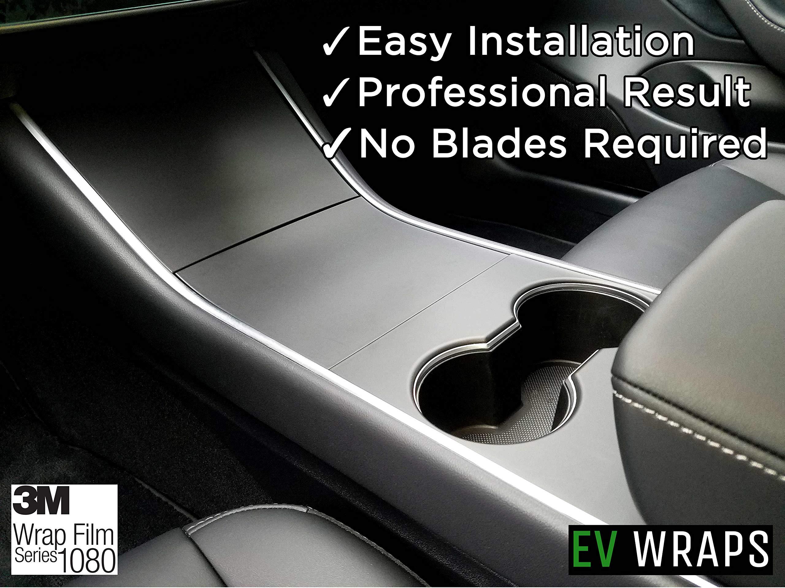 EV Wraps Tesla Model 3 Center Console Wrap - Matte Deep Black by EV Wraps