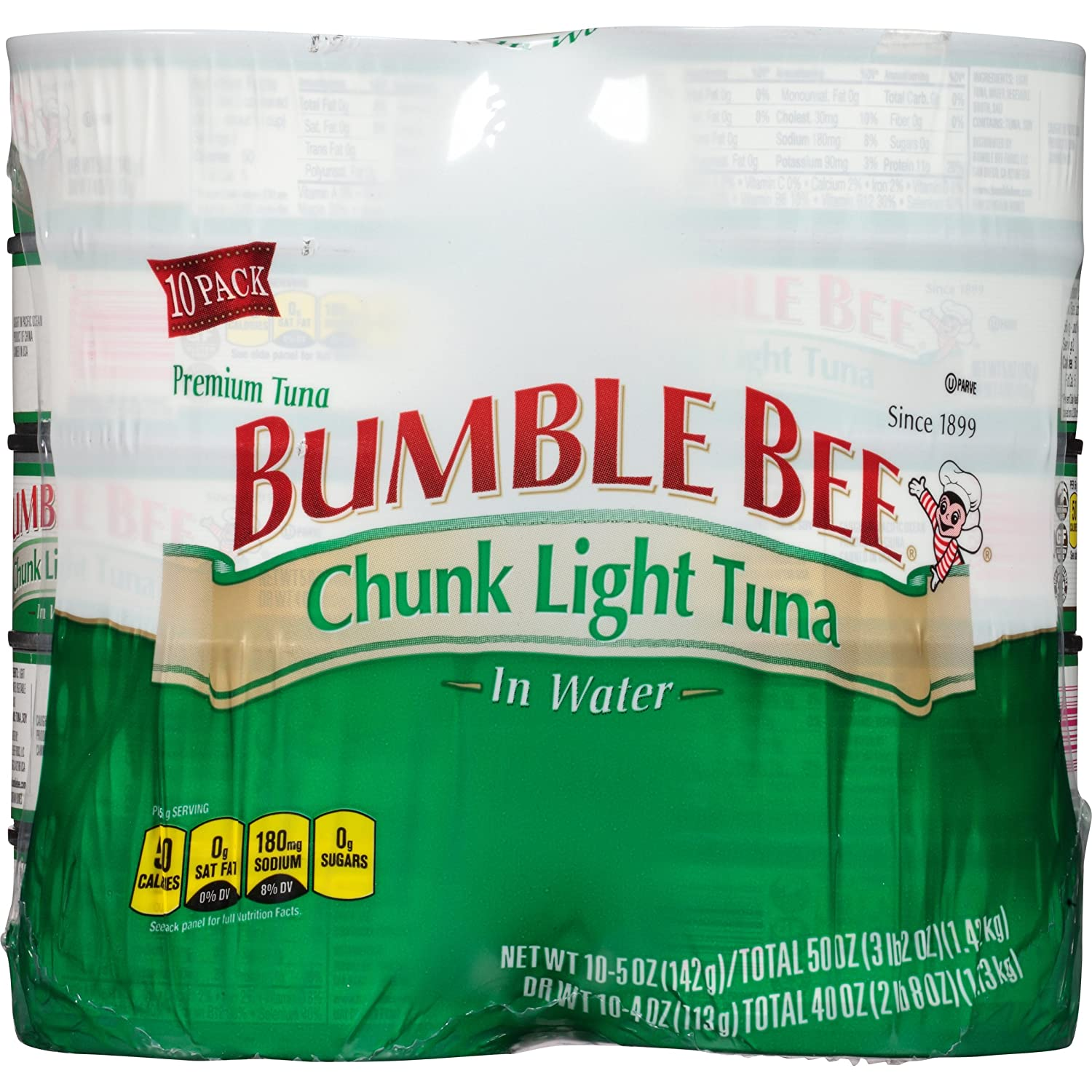 BUMBLE BEE Chunk Light Tuna in Water, Canned Tuna Fish, High Protein Food, 5 Ounce Can (Pack of 10)