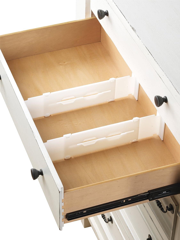 Set of 2 Whitmor Adjustable Drawer Dividers White Drawer Organizers