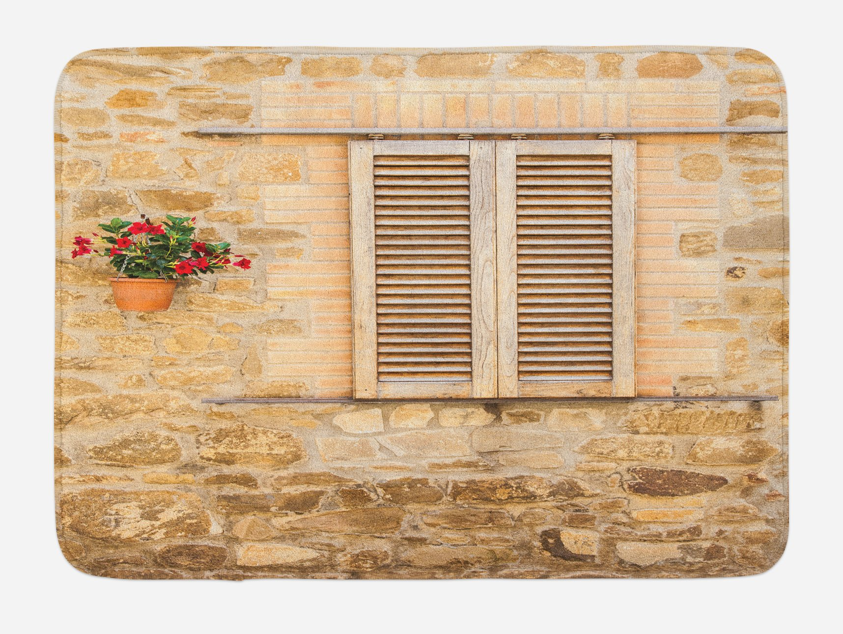 Lunarable Tuscan Bath Mat, Rustic Stone House and Window Shutters Flower Pot on Wall Italian Country Home Theme, Plush Bathroom Decor Mat with Non Slip Backing, 29.5 W X 17.5 W Inches, Beige