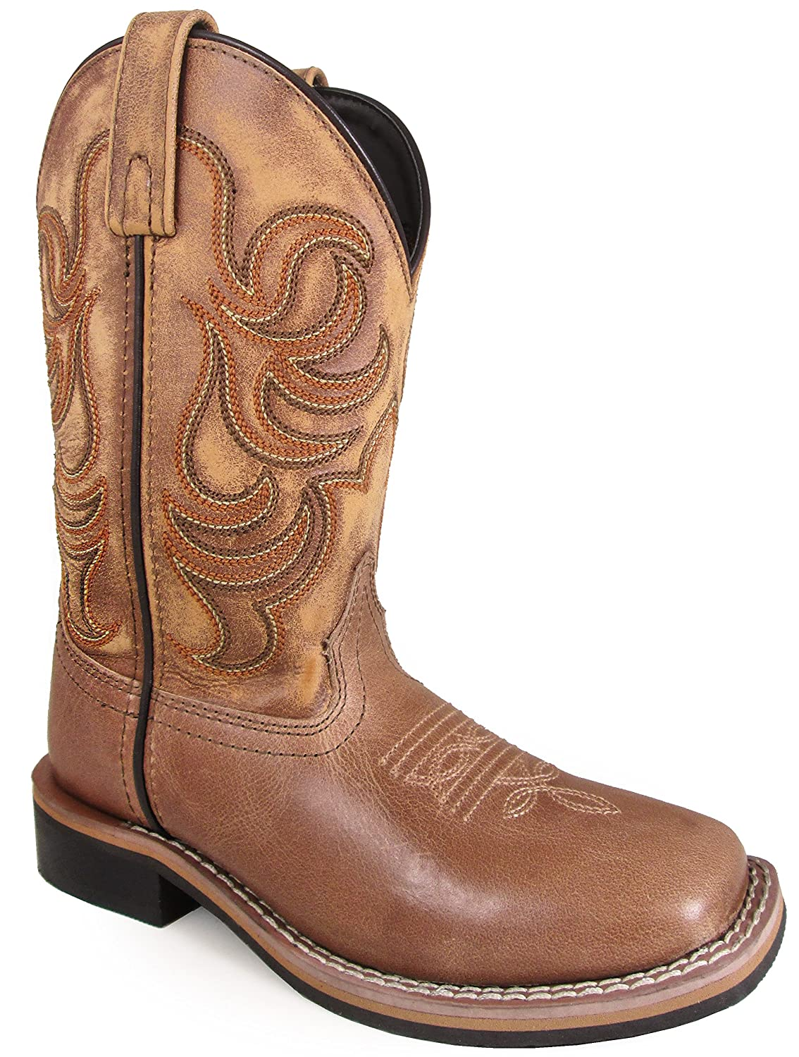 Smoky Mountain Youths Leroy Stitched Design Leather Square Toe Pull On Straps Tan Boots