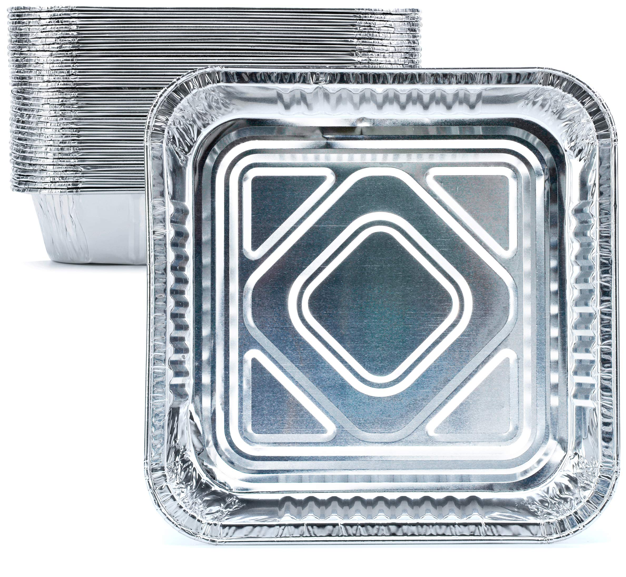 DOBI [30 Pack - 8'' x 8''] Square Pans - Standard Sized Disposable Aluminum Foil Tins, Perfect for Baking and Cooking by DOBI