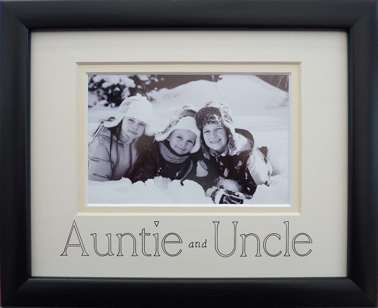 auntie and uncle photo frame 9 x 7 black landscape