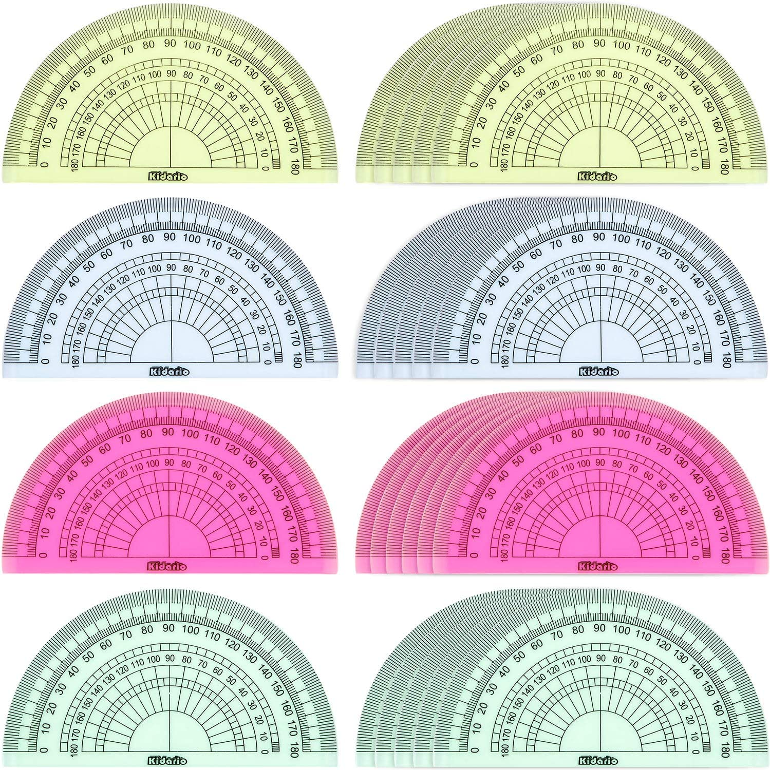 24 Pack Plastic Protractors Math Protractor 180 Degrees 4 Inch (Red Green Yellow Blue) : Office Products