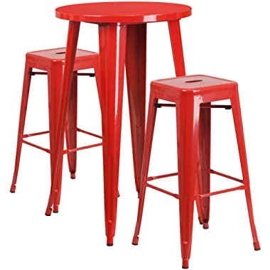 Flash Furniture 24'' Round Red Metal Indoor-Outdoor Bar Table Set with 2 Square Seat Backless Stools