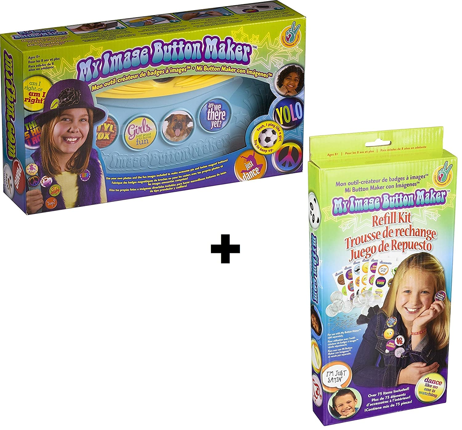 Makes 30 Buttons Kids Badge Button Kit Blue//Yellow Choose Friendship Bundle My Image Button Maker Refill Kit