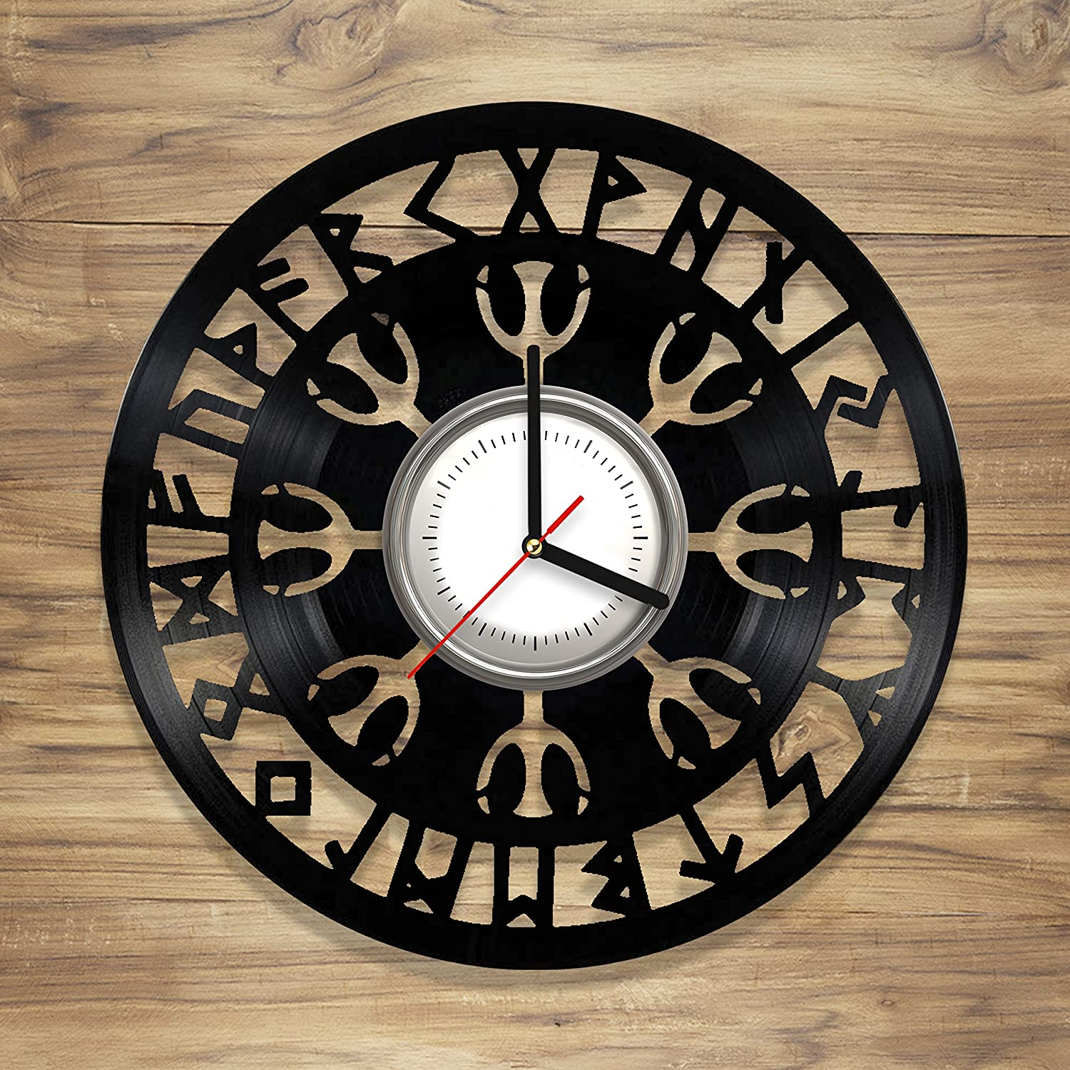 Viking Symbols Vinyl Wall Clock Norse Symbols Vegvisir Compass Art Decorate Home Unique Gift idea for Him Her (12 inches) (One Pack)