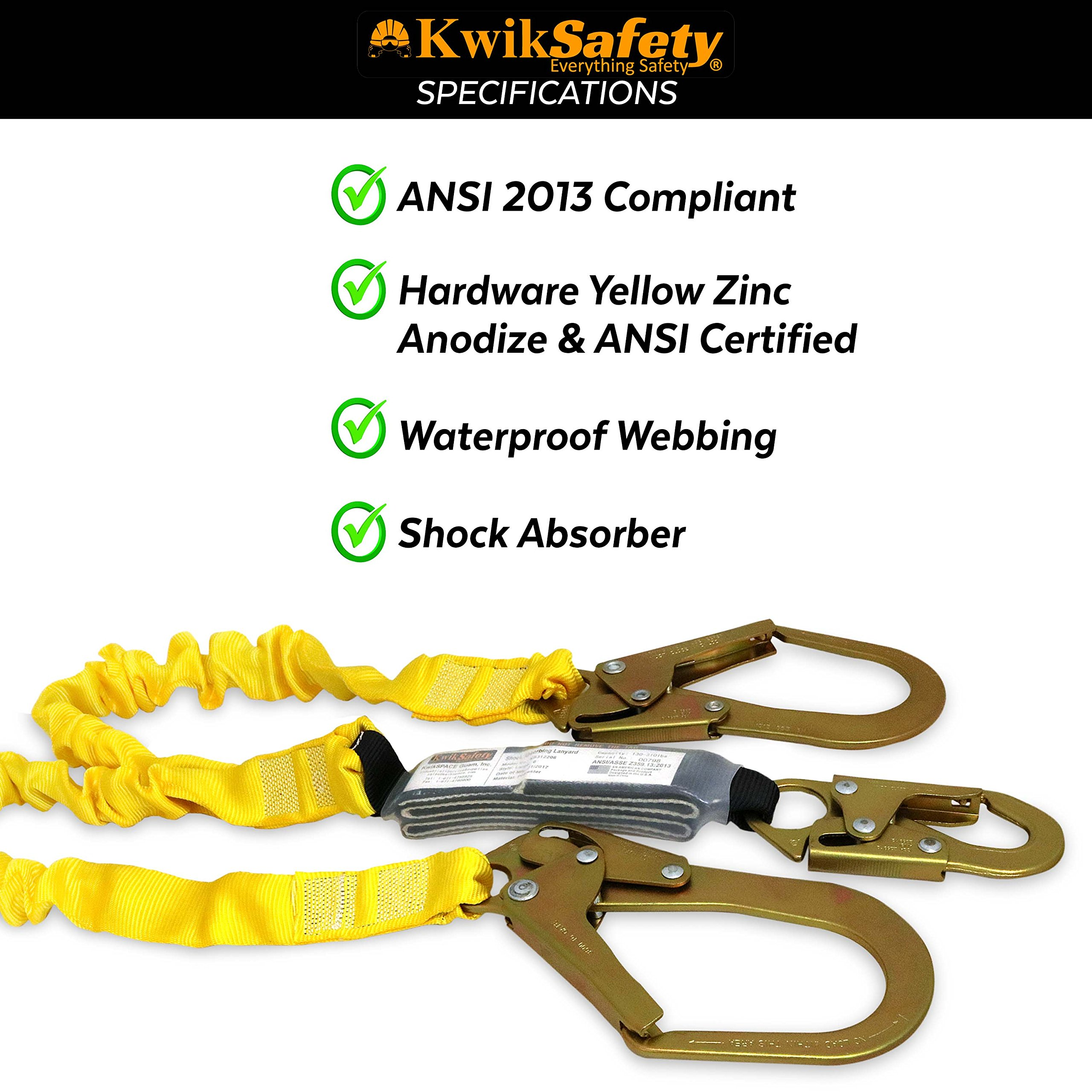KwikSafety (Charlotte, NC) PYTHON (COMBO) Double Leg 6ft Tubular Stretch Safety Lanyard | OSHA ANSI Fall Protection EXTERNAL Shock Absorber | Construction Arborist Roofing | Snap Rebar Hook Connector by KwikSafety (Image #5)