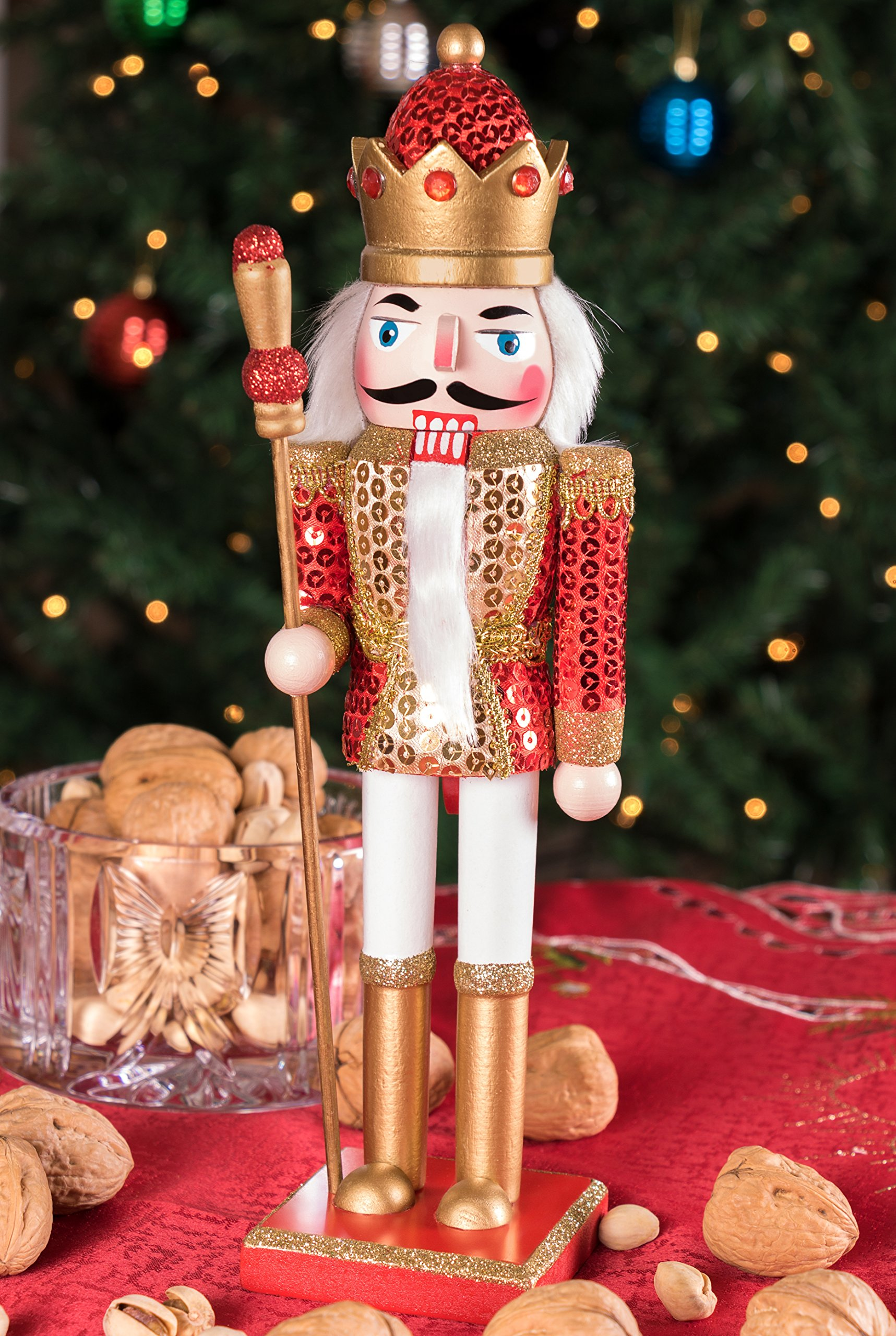King Nutcracker | Traditional Christmas Decor | With King's Royal Scepter | Wearing Red and Gold Sequin Shirt | Perfect for Any Collection | Perfect for Shelves & Tables | 100% Wood | 12'' Tall by Clever Creations (Image #5)