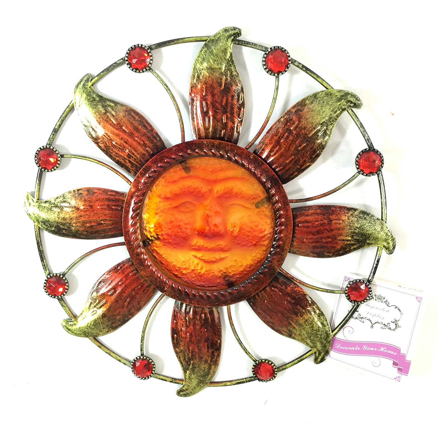 Amazoncom Bejeweled Display Sun Face w Stain Glass Wall Art