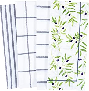 KAF Home Pantry Olives All Over Kitchen Dish Towel Set of 4, 100-Percent Cotton, 18 x 28-inch
