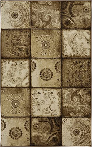 Mohawk Home Free Flow Artifact Panel Blue Patchwork Printed Area Rug, 7 6×10 , Tan