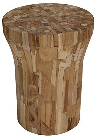 Bare Decor Sari Mosaic Wood Round End Table / Stool