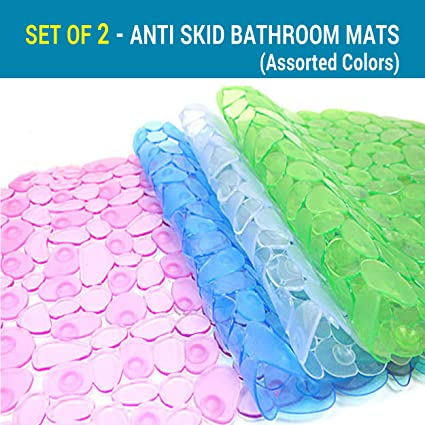 TIED RIBBONS Set of 2 Non Slip Bath Mat Mildew Resistant Pebbles Shower Mat with Anti Slip Suction Cups(2 pc, Assorted Color,PVC)