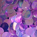 20mm Flat Round SEQUIN PAILLETTES ~ Violet Purple Crystal Iris Rainbow ~ Loose sequins for embroidery, bridal, applique, arts, crafts, and embellishment. Made in USA.