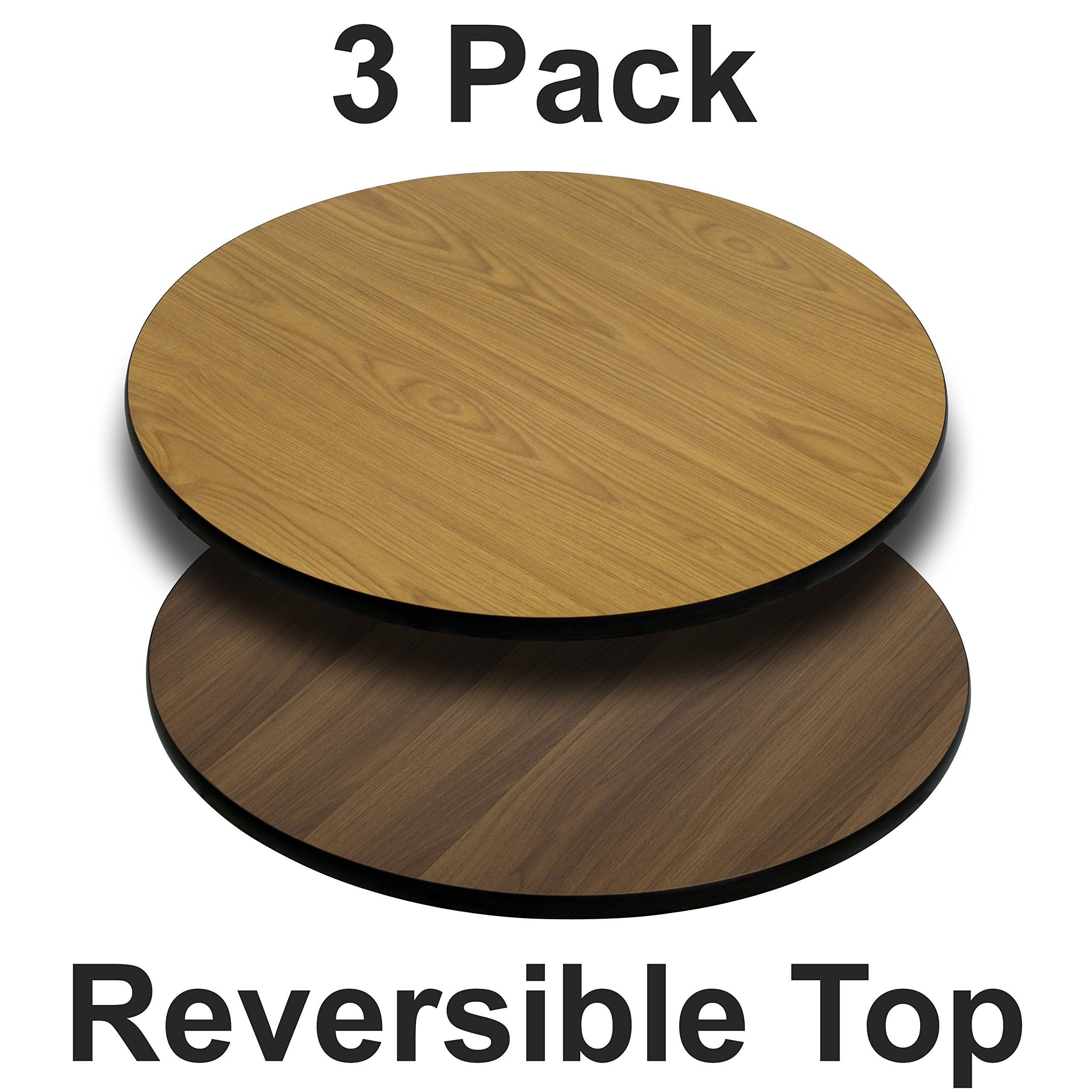 Flash Furniture 3 Pk. 24'' Round Table Top with Natural or Walnut Reversible Laminate Top by Flash Furniture (Image #1)
