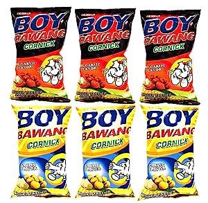 Boy Bawang Cornick Garlic and Boy Bawang Cornick Hot Garlic Bundle, 3.54 oz, 3 packs each flavor, total 6 counts