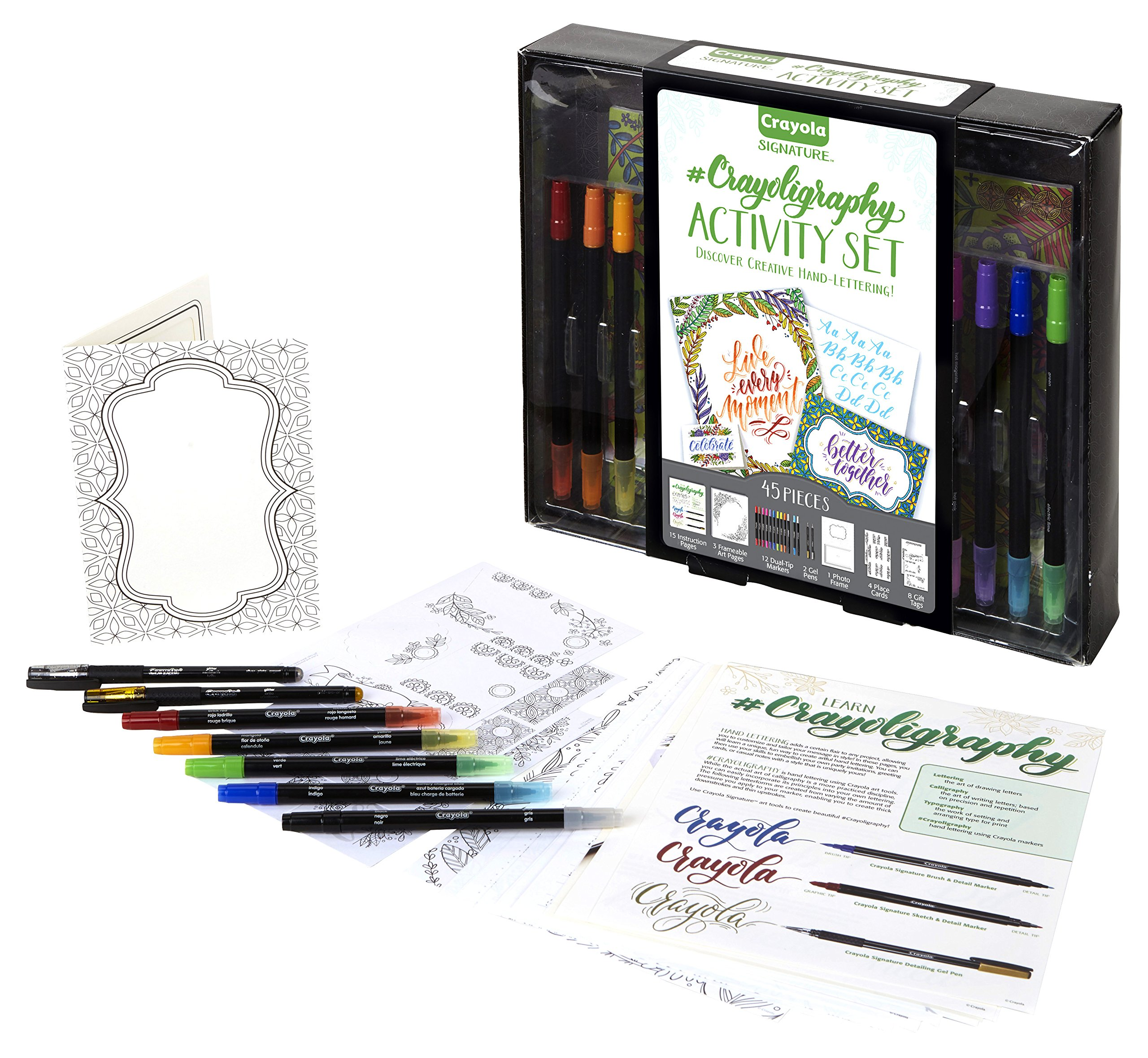 Crayola Beginner Hand Lettering Kit with Tutorials, Easier Than Calligraphy, 45Piece, Gift by Crayola