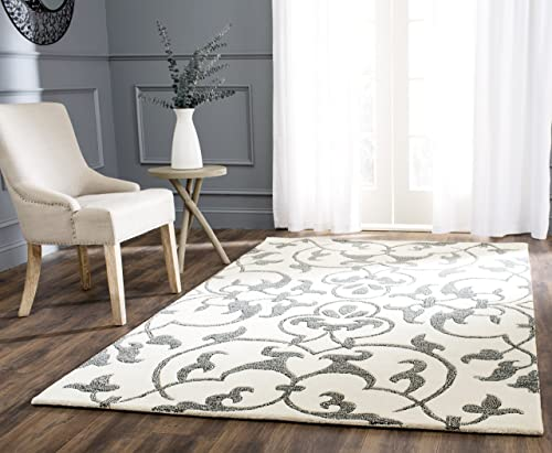 Safavieh Soho Collection SOH840A Handmade Ivory and Grey Premium Wool Area Rug 5' x 8'