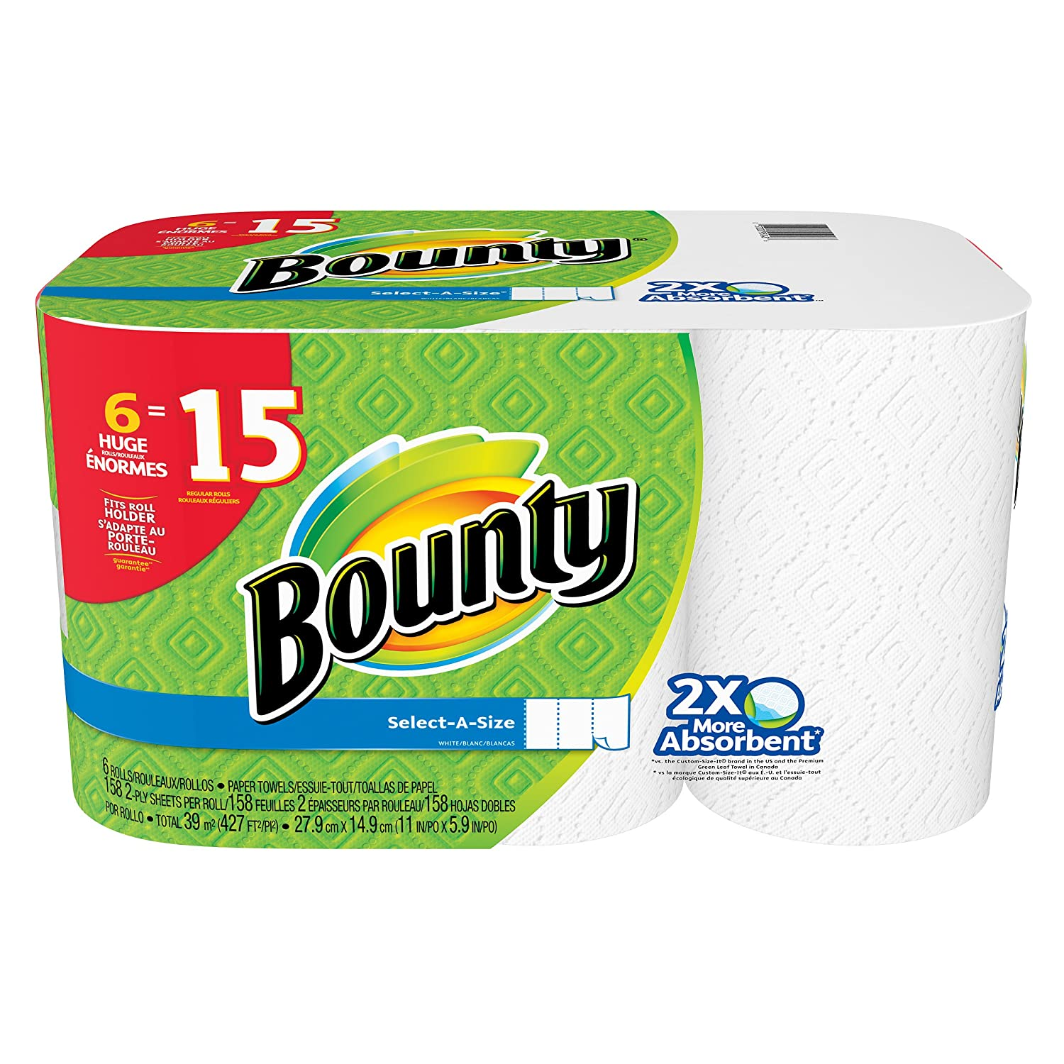 Amazon.com: Bounty Paper Towels, Select-a-size, Huge Rolls, White, 6 Count: Health & Personal Care