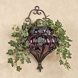 Touch of Class Grape Vineyard Grapevines Leaves Glass Metal Wall Vase Purple