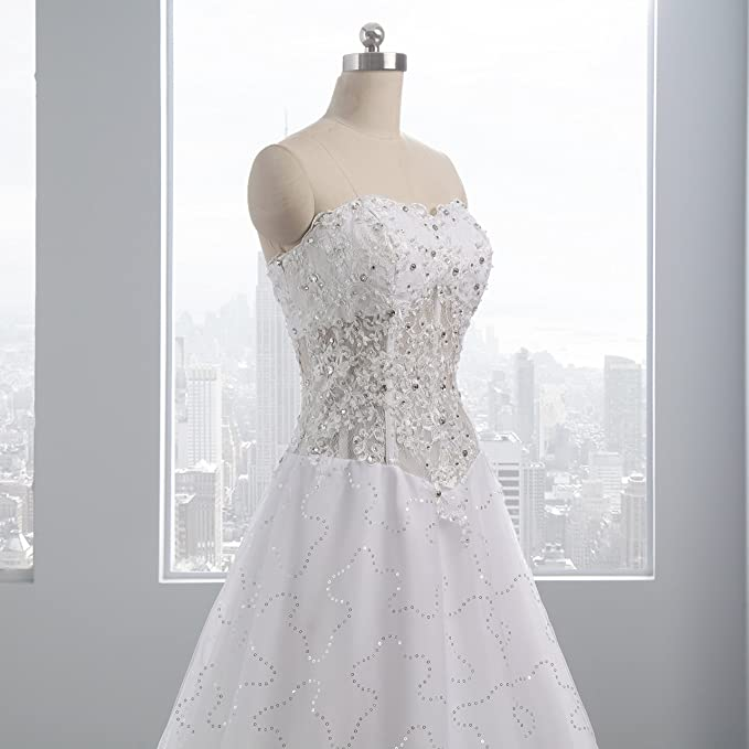 ynqnfs White wedding dress exquisite long ball dress handmade nail bead high-grade diamond at Amazon Womens Clothing store: